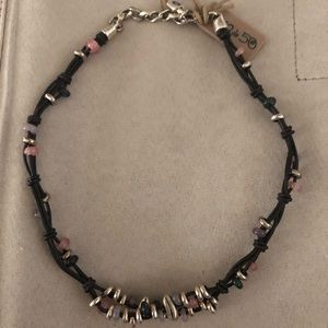UNOde50 NWT Leather & Murano Bead Retired Necklace